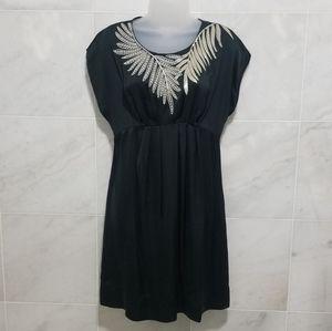 Bcbgmaxazria Black Leaf Sequin Smock Silk …